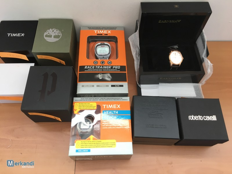 Stock lot of 67 branded watches and jewellery, new and under