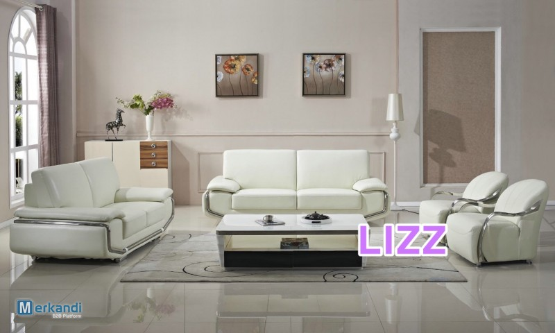 Modern White Top Grain Leather Couch