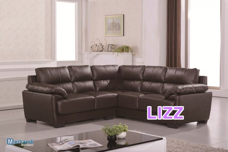 L Shaped Leather Sectional Sofa Set