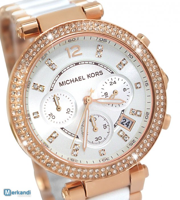7a3f24165 MK5774 BRAND NEW MICHAEL KORS LADIES PARKER ROSE GOLD CHRONOGRAPH CERAMIC  WATCH